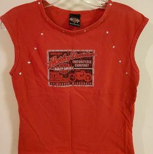 Harley Davidson womens studded sleeveless tee sz L